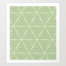 Olivine - green - Geometric Seamless Triangles Pattern Art Print