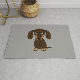 Chocolate Dachshund | Cute Cartoon Wiener Dog Rug