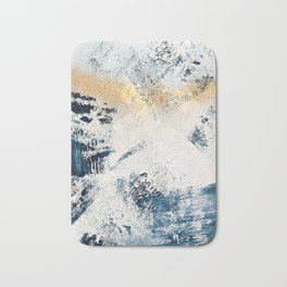 Sunset [1]: a bright, colorful abstract piece in blue, gold, and white by Alyssa Hamilton Art Bath Mat