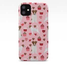 Jack Russell Terrier valentines day cupcakes and hearts love pattern gifts for dog lovers iPhone Case