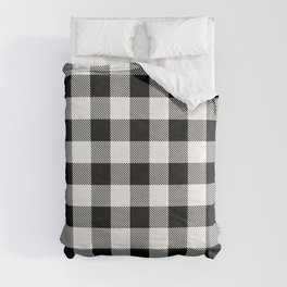 Buffalo Check Black White Plaid Pattern Comforters