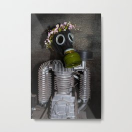 Household robot with gasmask Metal Print