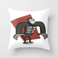 planet of the apes Throw Pillows featuring Caesar - Dawn of the Planet of the Apes Cartoon by Aaron Lecours
