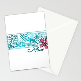 Maui Hawaii Plumeria Gecko Banner Stationery Cards