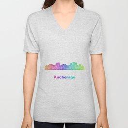 Rainbow Anchorage skyline Unisex V-Neck