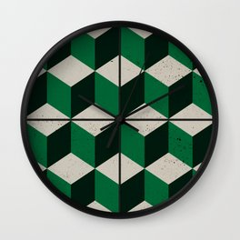 Vintage tiles - green isometric cubes Wall Clock