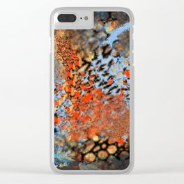 Blue, Orange, Black, Explosion Abstract Clear iPhone Case