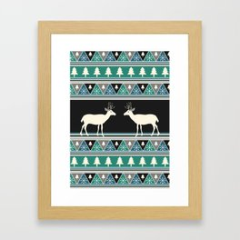 Christmas pattern with deer Framed Art Print
