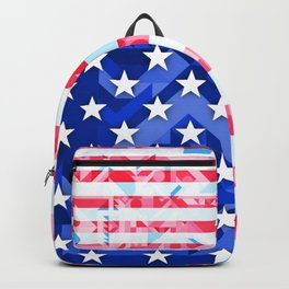 USA AMERICAN FLAG GEOMETRIC (MULTI COLOR, RED, WHITE, BLUE) Backpack