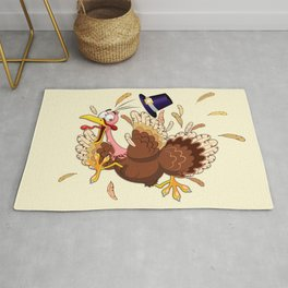 Thanksgiving Turkey Funny Scared and Running Cartoon Character Rug