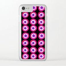 Evil Eye Talisman in Pink on Black Clear iPhone Case