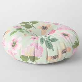 Dusty Olive and Pink Floral Floor Pillow