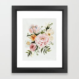 Loose Peonies & Poppies Floral Bouquet Framed Art Print