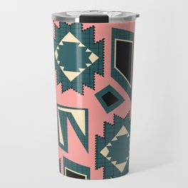 Shapes and strokes in blue and coral Travel Mug