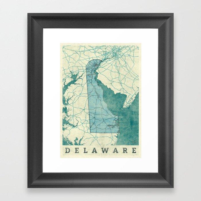Delaware State Map Blue Vintage Gerahmter Kunstdruck