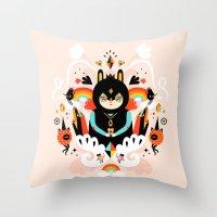 queen Throw Pillows featuring Rainbow Queen by Muxxi