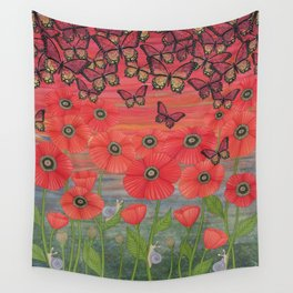 red sky, butterflies, poppies, & snails Wall Tapestry