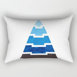 Prussian Blue Aztec Pyramid Triangle Egypt Minimalist Mid Century Modern Watercolor Geometric Patter Rectangular Pillow