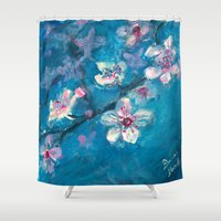 cherry blossoms Shower Curtains featuring Cherry Blossoms by Spinning Daydreams