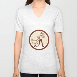 Chicken Farmer Feeder Circle Cartoon Unisex V-Neck