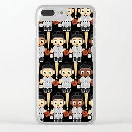 Baseball Black and White - Super cute sports stars Clear iPhone Case