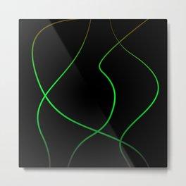 Abstract gold line art on black background #society6 #decor #buyart #artprint Metal Print