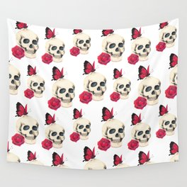 Skull, red rose and red butterfly Wall Tapestry
