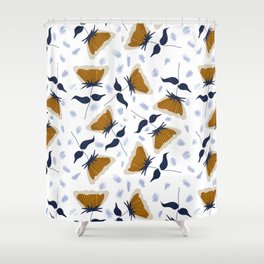 Gold and White Flowers with Blue Shower Curtain