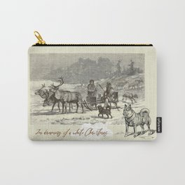 Nothern winter scene with Dogs and Reindeers team Carry-All Pouch