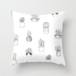 Potted Cactus Pattern Black and White Throw Pillow
