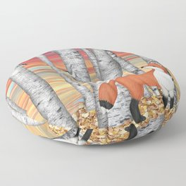 nuthatches and fox in the birch forest Floor Pillow