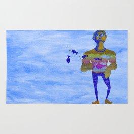Orange guy diving in watercolor Rug