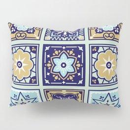 Talavera Mexican Tile – Mint & Navy Palette Pillow Sham
