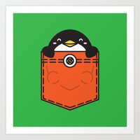 pocket Art Prints featuring Pocket Penguin by Steven Toang
