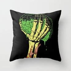 Zombie Skeleton Brain Vintage Throw Pillow