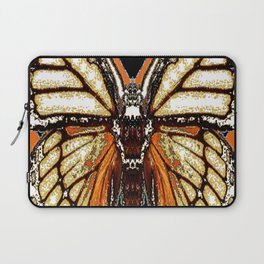 RIBBED WHITE BROWN & BLACK BUTTERFLY WING VEINS Laptop Sleeve