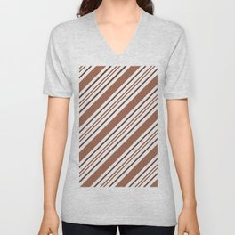 Sherwin Williams Cavern Clay Thick and Thin Angled Lines Triple Stripes Unisex V-Neck