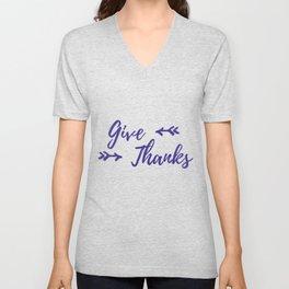 Give Thanks - White Plum Unisex V-Neck