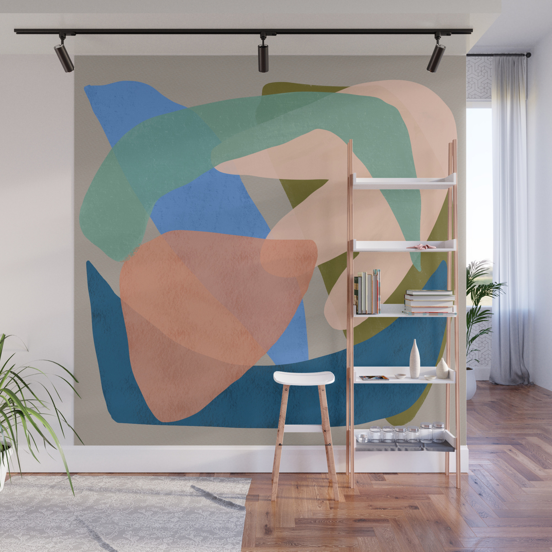 Shapes And Layers No 30 Large Organic Shapes Blue Pink Green Gray Wall Mural By Sewzinski Society6