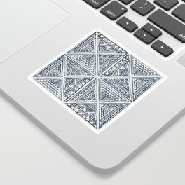 Simply Tribal Tile in Indigo Blue on Lunar Gray Sticker