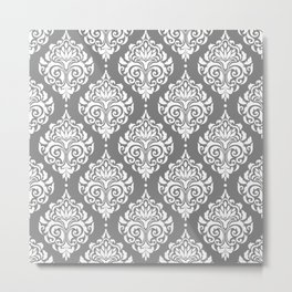 Grey Damask Metal Print