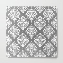 Grey Damask Metal Print
