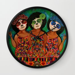 The three Catrinas Wall Clock