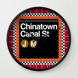 subway chinatown sign Wall Clock
