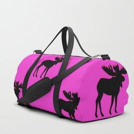 Bull Moose Silhouette - Black on Pink Duffle Bag