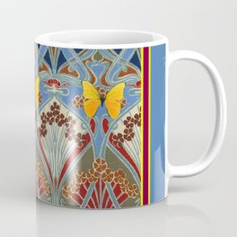 Grey-Burgundy Color & Yellow Art Nouveau Butterfly Design Coffee Mug