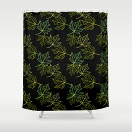 Maple Leaf (Black Glow) - Growth Shower Curtain