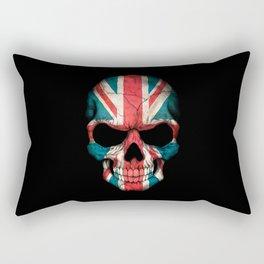 British Flag Skull on Black Rectangular Pillow