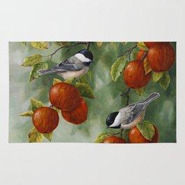 Chickadees and Apple Tree Harvest Rug