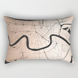 New Orleans Rose Gold and Black Map Rectangular Pillow